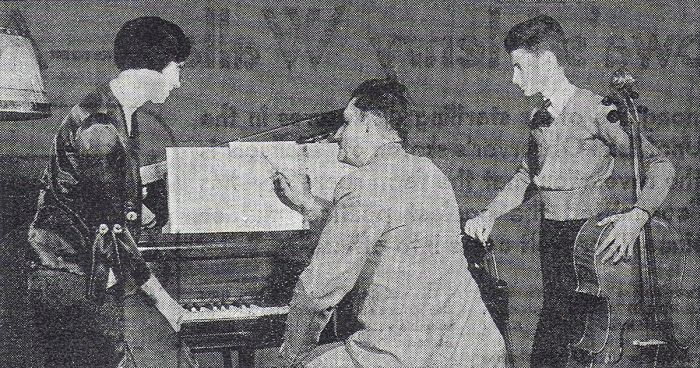 Karl King at the piano with his wife, Ruth, and his son, Karl King Jr.